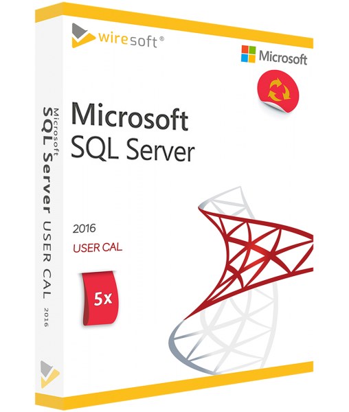 MICROSOFT SQL SERVER 2016 - 5 PACK USER CAL